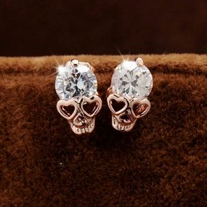Jewelry - Gorgeous gold plated Skull Earrings studs